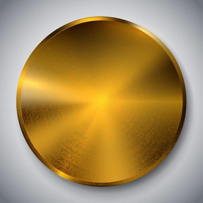 Golden metallic plate